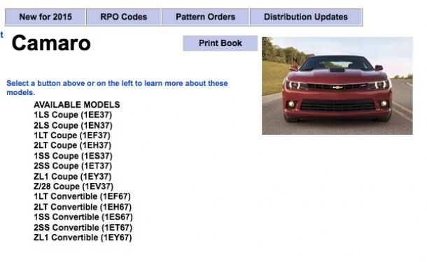 2015 Camaro Order Guide Now Available
